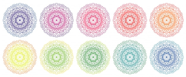 さまざまな色のマンダラデザイン