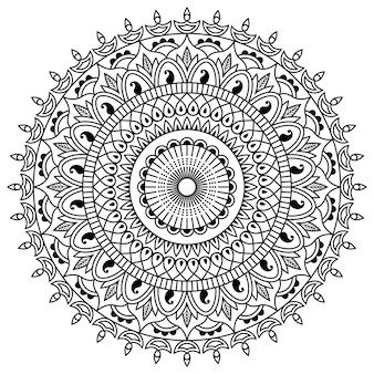 マンダラデザインラインアート、伝統的なディワリランゴーリーアート、花のグラフィックの形