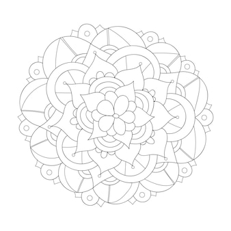 マンダラデザイン丸い花飾り抽象的な落書きの背景ぬりえ