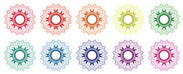 Mandala design set in different colors