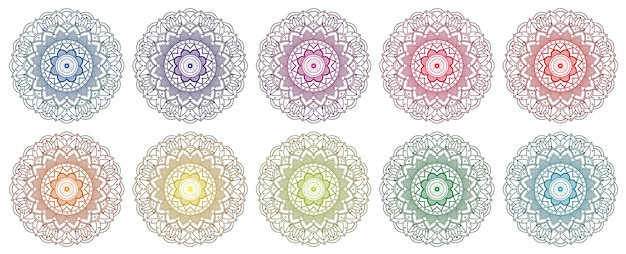 Mandala design set in many colors