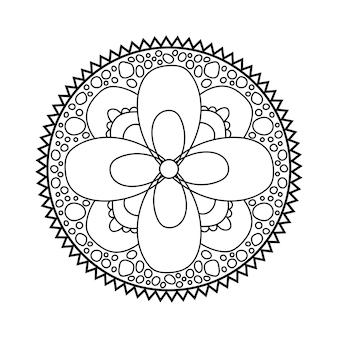 マンダラデザイン対称の丸い飾り抽象的な落書きの背景ぬりえ