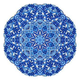 曼荼羅は、様式化された雪の結晶で抽象的な装飾的な色のイラストを落書きします。