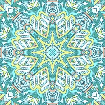 マンダラ落書きアート装飾された背景。装飾的な抽象的な幾何学的な民族のシームレスなパターン