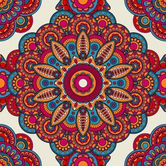 Mandala doodle colored seamless pattern