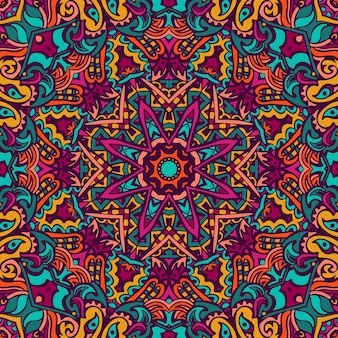 만다라 낙서 라인. 추상적 인 기하학적 타일 된 boho 민족 완벽 한 패턴입니다. 손으로 그린 된 hipster 얽힌