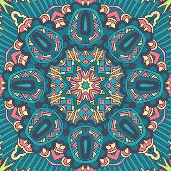 Мандала каракули линии украсила фон. абстрактные геометрические плиточные бохо этнические бесшовные орнамент.