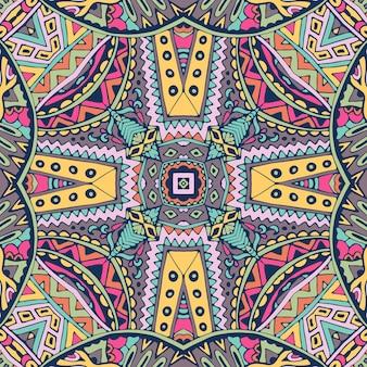 Мандала каракули линии украсила фон. абстрактный геометрический племенной плиточный бохо этнический бесшовные орнамент.