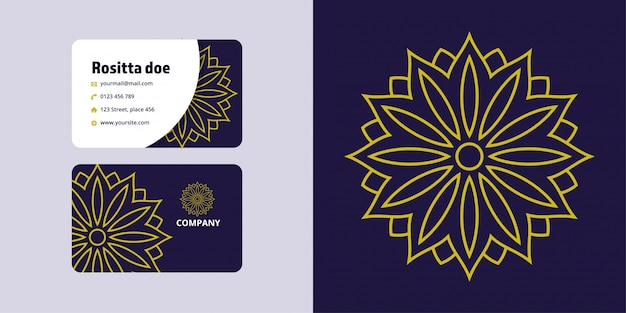 Мандала рисунок и визитная карточка набор. монолайн логотип бренда