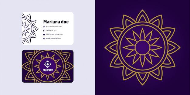 Mandala drawing and business card set. monoline logo brand