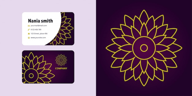 Mandala drawing and business card set. monoline logo brand