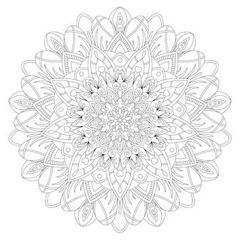 Рисунок мандалы с черными линиями на белом