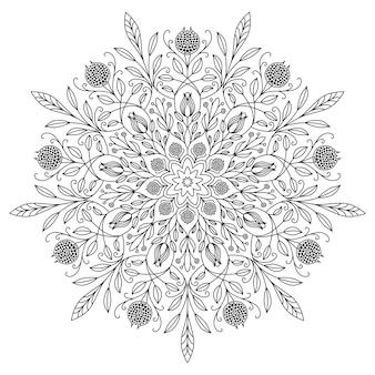白い背景に黒い線で描く曼荼羅。美しいヴィンテージの丸いパターン。エスニックな華やかな背景。