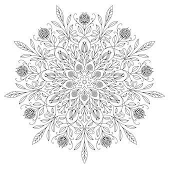 Mandala drawing with black lines on a white background. beautiful vintage round pattern. ethnic ornate background.