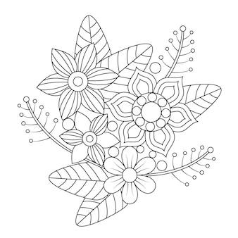 성인 만다라 식물과 잎 꽃다발 색칠.