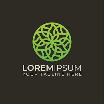 Мандала цветочный абстрактный логотип круглой формы можно использовать для студий йоги, центров целостной медицины