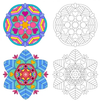 Mandala flower 2 style coloring for adults picture for relative therapy.