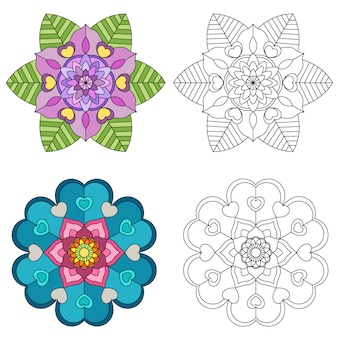 Mandala flower 2 style coloring for adults.