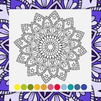 Mandala flower for adults relaxing coloring book.