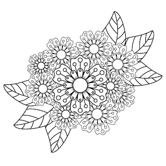 大人のためのマンダラの花が塗り絵をリラックス。