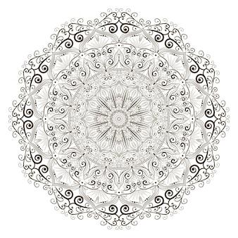 Мандала цветок штриховая графика