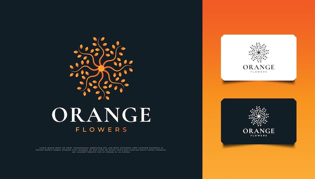 オレンジグラデーションの曼荼羅の花のロゴデザイン。スパ、美容、花屋、リゾート、または化粧品のブランドアイデンティティに適したオレンジ色の花の装飾