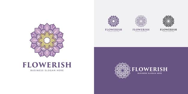 Mandala flower logo purple beauty