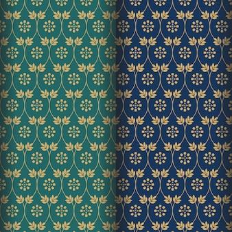 緑と海軍の背景を持つマンダラ花のパターン