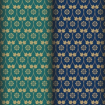 Mandala flower pattern with green and navy background