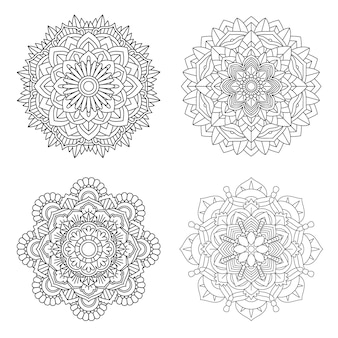 Набор цветов мандалы, стиль книжка-раскраска 4.