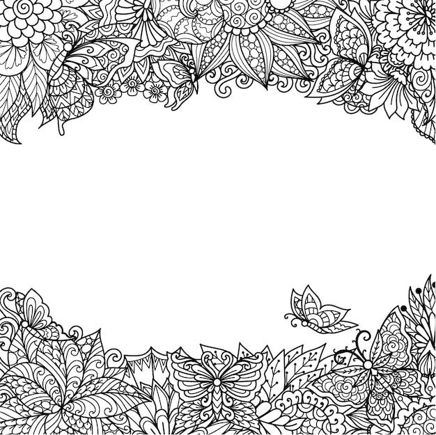 인쇄, 조각 또는 색칠 페이지를 위한 만다라 꽃과 나비 프레임. 벡터 일러스트 레이 션.