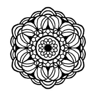 塗り絵の曼荼羅。装飾的な丸い装飾品。珍しい花の形。オリエンタルベクトル、抗ストレス療法のパターン。デザイン要素を織ります。ヨガのロゴのベクトル図