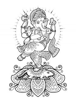 Mandala ganesha coloring book