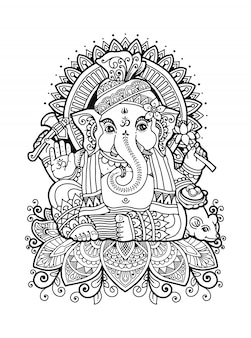 Mandala ganesha coloring book,