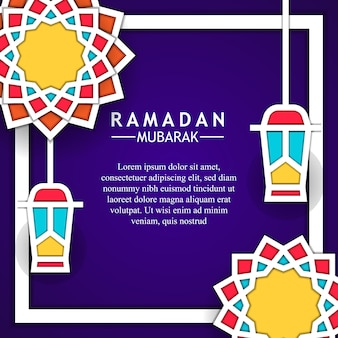 Mandala geometrical background frame flat fanous lantern for ramadan