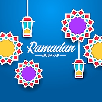 Mandala geometrical background frame flat fanous lantern for ramadan