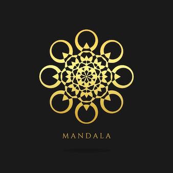 Мандала золотой векторный дизайн логотипа