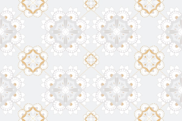 マンダラ灰色のインドのパターンの花の背景