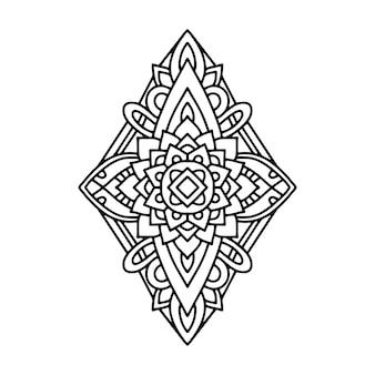 Mandala illustration, outline coloring page