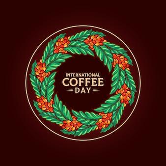 Mandala international  coffee day illustrations