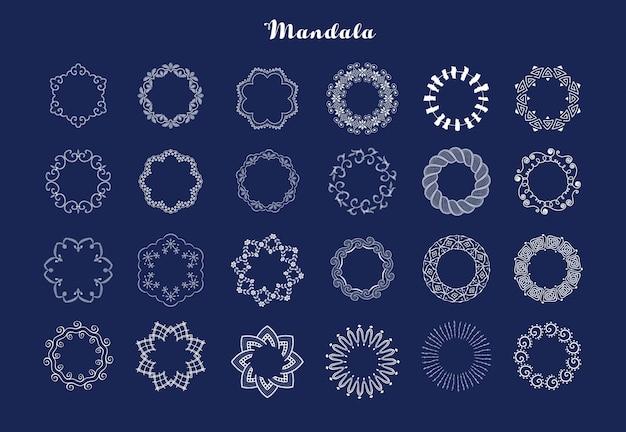 Mandala lacing borders Premium Vector