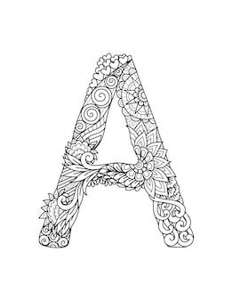 Mandala letter a monogram, adult coloring book, engraving design.
