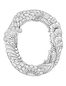 Mandala letter o monogram, adult coloring book, engraving design.
