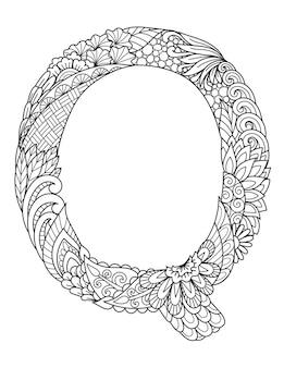 Mandala letter q monogram, adult coloring book, engraving design.