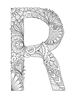 Mandala letter r monogram, adult coloring book, engraving design.