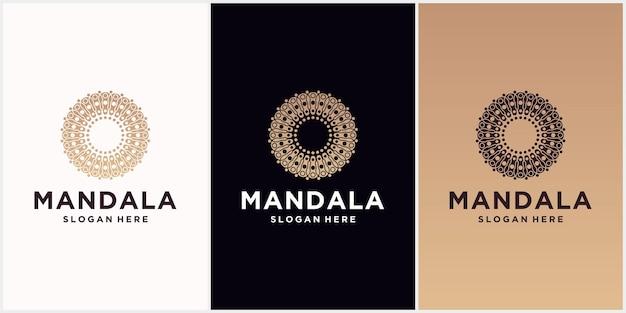 曼荼羅のロゴデザインテンプレート、曼荼羅スタイルの抽象的なシンボル、高級品、ホテル、ブティック、ジュエリー、東洋の化粧品のエンブレム