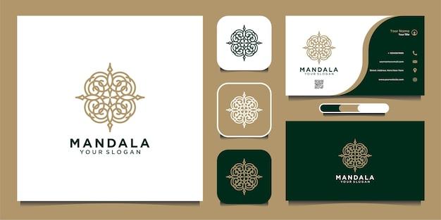 Дизайн логотипа мандалы с штриховой графикой и визитной карточкой