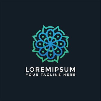 Мандала логотип цветочная природа с листьями и цветами. элегантный роскошный шаблон спа-салона красоты - можно использовать для студий йоги, центров комплексной медицины, натуральных и органических продуктов питания