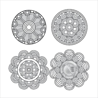 Mandala monochrome art set styles
