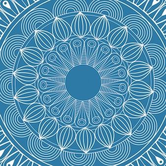 만다라 신비로운 계획 파란색 배경